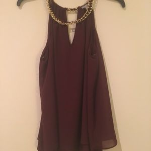 Tops - Wine Halter Tank Top with Gold Neck Detail